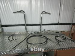 08-17 Harley Davidson FXDF Fat Bob Ape Hanger Handlebars 19 with Cables
