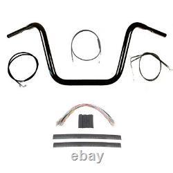 1 1/4 BBlack 12 Ape Hanger Handlebar Kit 2008-2011 Harley Dyna Fat Bob