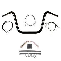 1 1/4 BBlack 13 Ape Hanger Handlebar Kit 2008-2011 Harley Dyna Fat Bob