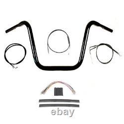 1 1/4 BBlack 16 Ape Hanger Handlebar Kit 2008-2011 Harley Dyna Fat Bob