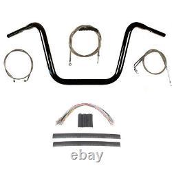 1 1/4 Black 12 Ape Hanger Handlebar Kit 2008-2011 Harley-Davidson Dyna Fat Bob