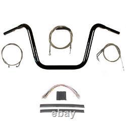 1 1/4 Black 13 Ape Hanger Kit 2012-2017 Harley-Davidson Dyna Fat Bob withABS