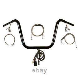 1 1/4 Black 14 Prewired Ape Hanger PKit 2008-2011 Harley Dyna Fat Bob