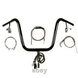 1 1/4 Black 16 Prewired Ape Hanger PKit 2008-2011 Harley Dyna Fat Bob