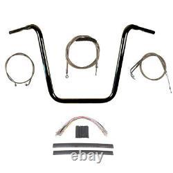 1 1/4 Black 18 Ape Hanger Handlebar Kit 2012-2017 Harley Dyna Fat Bob withABS