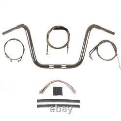 1 1/4 Chrome 12 Ape Hanger Handlebar Kit 2008-2011 Harley Dyna Fat Bob