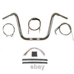 1 1/4 Chrome 14 Ape Hanger Handlebar Kit 2008-2011 Harley Dyna Fat Bob