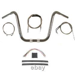 1 1/4 Chrome 16 Ape Hanger Handlebar Kit 2008-2011 Harley Dyna Fat Bob
