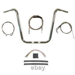 1 1/4 Chrome 18 Ape Hanger Handlebar Kit 2008-2011 Harley Dyna Fat Bob