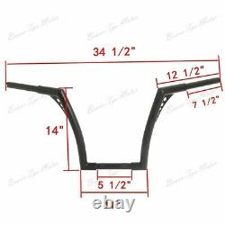 1.25 Fat 14 Rise Ape Hangers Handlebar For Harley Touring Softail Dyna Custom