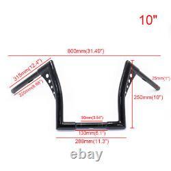 10 Rise Ape Hanger 1'' 25mm Handlebar 1-1/4 Fat Bar Handle bar For Harley FXST
