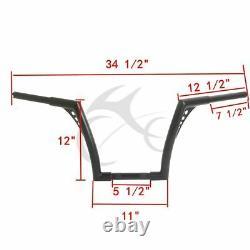 12 Rise 1.25 Fat Custom Ape Hangers Handlebar Fit For Harley Sportster XL 883
