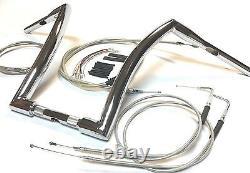 12 x 1 1/2 Super FAT Chrome Ape Hanger Handlebar Kit 07-10 Harley Dyna FXD