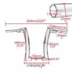 16 Rise 2 Ape Hanger Handlebar Handle Black Fat Bar For Sportster Softail Dyna
