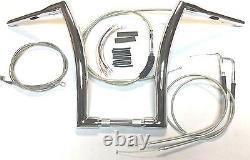 18 x 1 1/2 Super FAT Chrome Ape Hanger Handlebar Kit 07-11 Harley Dyna FXDL