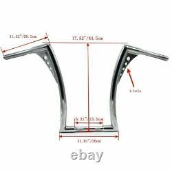 1X Grips Universal 16 Rise Handlebars For Harley 1 Chrome Ape Hangers Fat Bars