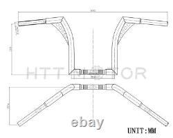 1x Custom Ape Hangers Fat 1-1/4 Bars 12 Rise Handlebars For Harley Motorcycle