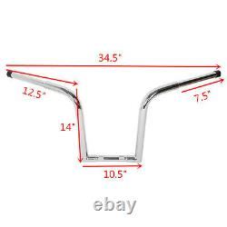 Ape Hanger Bar Fat 1 1/4 14 Rise Handlebar For Harley Sportster Softail Custom