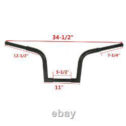 Black 1-1/4 Fat 10 Rise Ape Hanger Bar Handlebar For Harley Softail Sportster