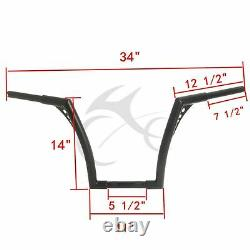Black 1-1/4 Fat 14 Ape Hangers Handlebar Fit For Harley FLST FXST Sportster XL