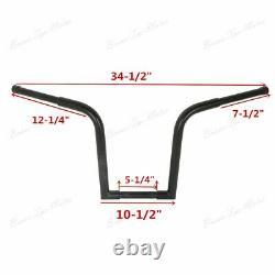 Black 1-1/4 Fat 14 Rise Ape Hanger Bar Handlebar For Harley Softail Sportster