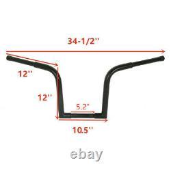 Black 1.25 Fat 12 Rise Ape Hangers Handlebar For Harley FLST Sportster XL 883