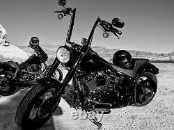 Black 10 12 14 16 Fat Monster Ape Hangers Handlebars For Harley Dyna KN
