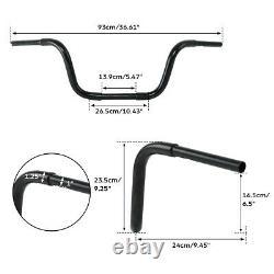 Black 10 Rise APE Hanger Fat 1-1/4 Handlebar For Harley FLST FXST Sportster XL