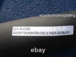 Black 12 DNA MONSTER APE HANGER FAT BARS WIDE 1-1/2 HARLEY HANDLEBARS ROAD GLIDE