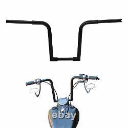 Black 14 Rise Ape Hangers Bars Fat 1-1/4 Handlebars For Harley FLST FXST US