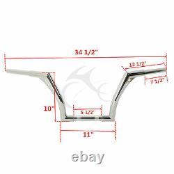 Chrome 1 1/4'' Fat 10 Ape Hanger Handlebar Fit For Harley Softail Sportster 883
