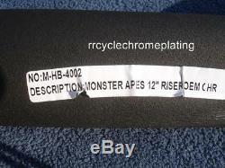 Chrome 12 DNA MONSTER FAT APE HANGER BARS WIDE 1-1/2 HARLEY HANDLEBARS Heritage