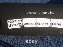 Chrome 12 DNA MONSTER FAT APE HANGER BARS WIDE 1-1/2 HARLEY HANDLEBARS Softail