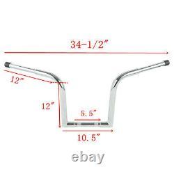 Chrome 12 Rise Ape Hanger Bar 1-1/4 Fat Handlebar For Harley Sportster Sturgis