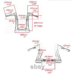 Chrome 16 Rise 2 Ape Hanger Handlebar Handle Fat Bar For Harley Dyna Softail