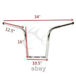 Chrome 16 Rise Ape Hanger Bar Fat 1-1/4 Handlebar For Harley Sportster Custom