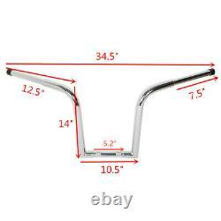 Chrome Ape Hangers Bars Fat 1-1/4 14 Rise Handlebar Fit For Harley FLST FXST