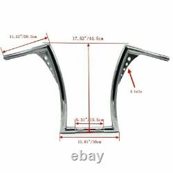 Chrome Universal 16 Rise Handlebars For Harley 1 Chrome Ape Hangers Fat Bars