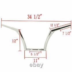 Custom APE Hangers Fat 1-1/4 12 Rise Handlebars For Harley Sportster XL Softail