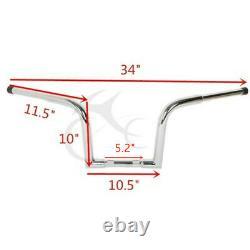 Fat 1.25 Ape Hanger Bars 10 Rise Handlebar Fit For Harley Softail Sportster XL