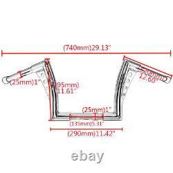Fat 12 Rise 1.25 Ape Hangers Handlebar For Harley Sportster 883 1200 FLST FXST