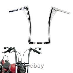 Motorcycle APE HANGERS BARS FAT 1-1/4 16 RISE HANDLEBARS FOR HARLEY FLST, FXST