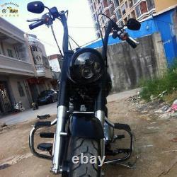 Motorcycle Black APE HANGERS BARS FAT 1-1/4 16 RISE HANDLEBARS FOR HARLEY