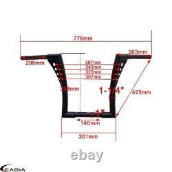 Steel Ape Hangers Fat 1-1/4 Bars 12 Rise Handlebars For Harley FLST XL Custom